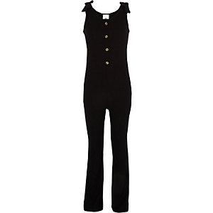 Girls black ribbed tie jumpsuit