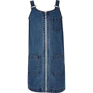 Girls blue denim pinafore dress
