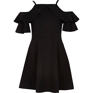 Girls black cold shoulder frill dress
