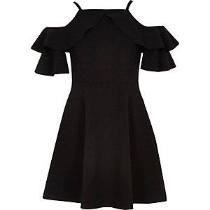 Zwarte schouderloze jurk met ruches voor meisjes
