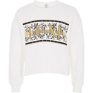 Girls white 'Luxe' glitter sweatshirt