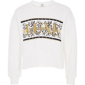 Wit sweatshirt met 'Luxe'-print en glitter