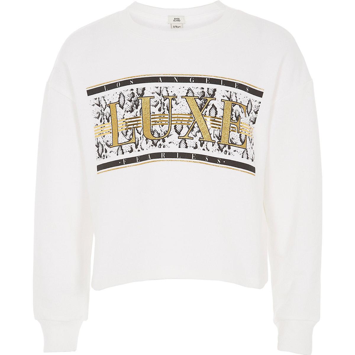 Girls white 'Luxe' glitter sweatshirt