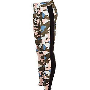 Legging motif camouflage kaki pour fille