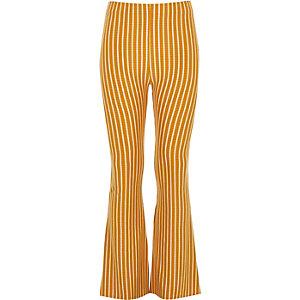 Gele gestreepte uitlopende broek voor meisjes