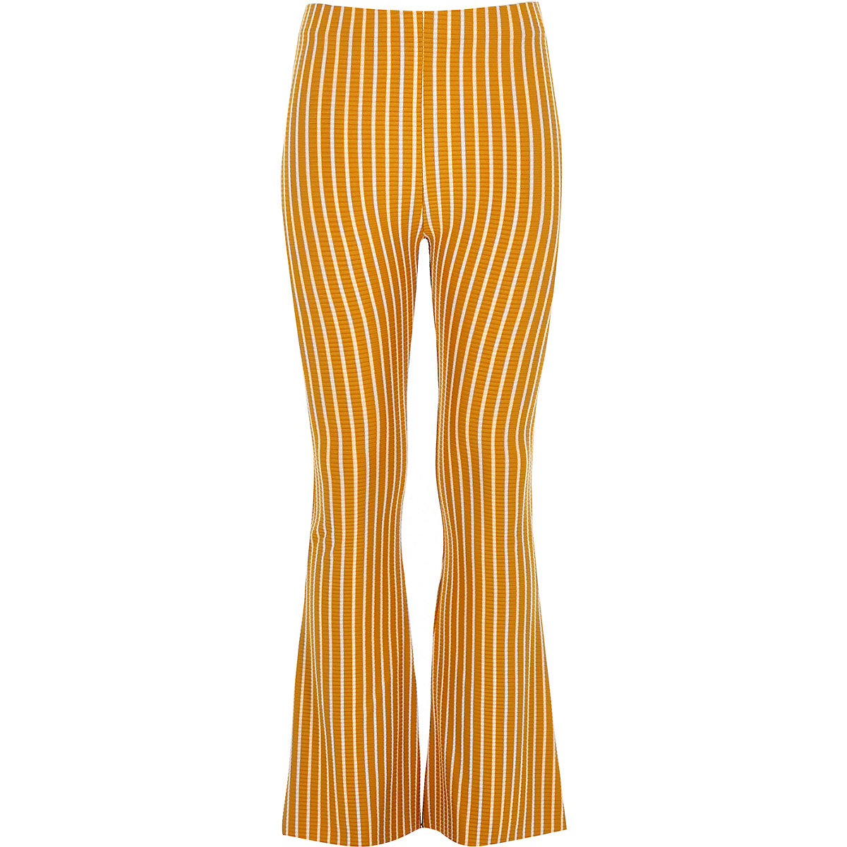 Girls yellow stripe flare trousers