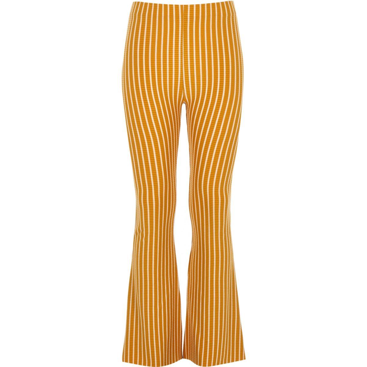 Girls yellow stripe flare pants