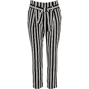 Girls black stripe tapered trousers