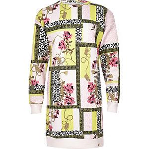 Pinkes Scuba-Pulloverkleid mit Print