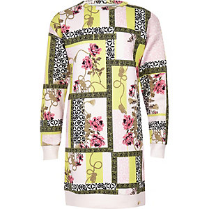 Girls pink spliced print scuba sweater dress