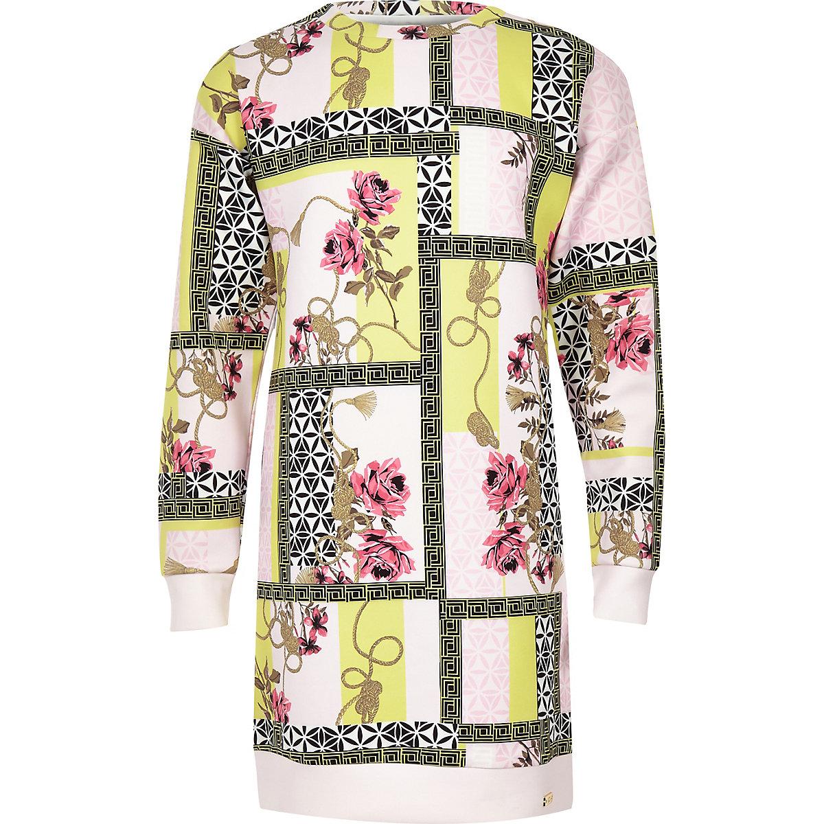Girls pink spliced print scuba jumper dress