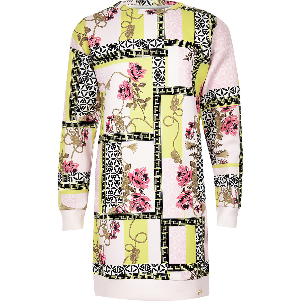 Girls pink spliced print scuba sweater dress