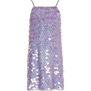 Robe violette à sequins et bretelles fines pour fille