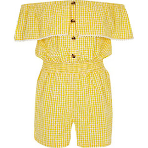 Girls yellow gingham bardot playsuit