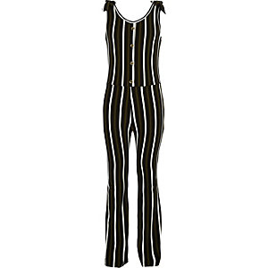 Girls khaki stripe ribbed jumpsuit