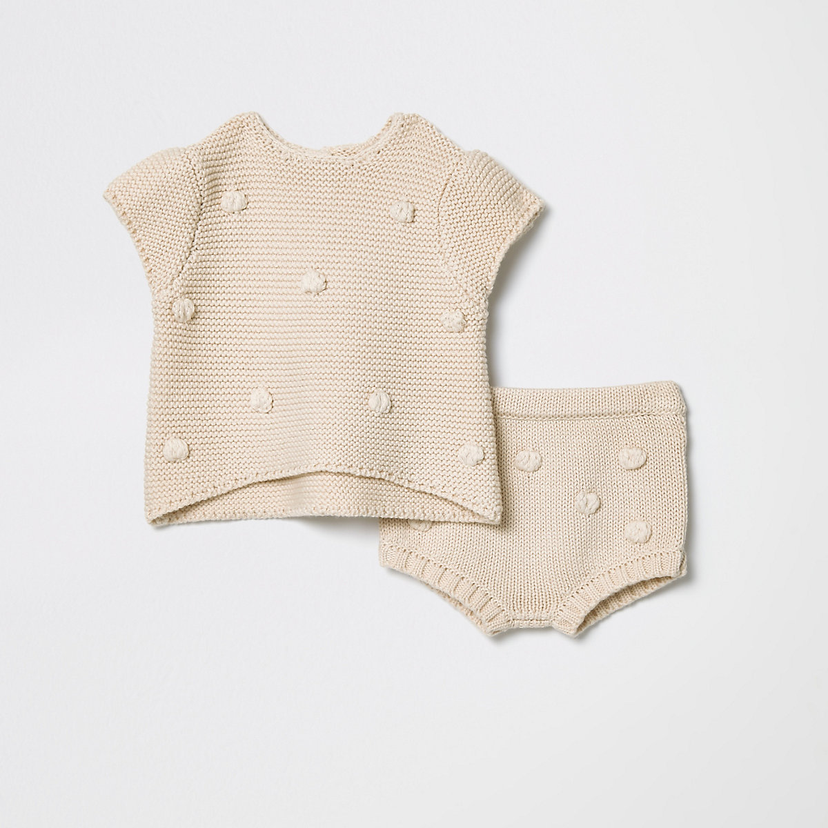 Baby cream knitted bobble bloomed outfit