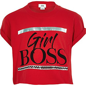 "Rotes T-Shirt ""Girl boss"""