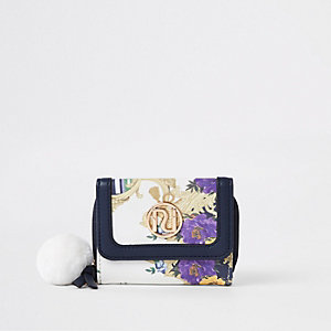 Girls navy RI baroque print trifold purse