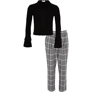 Ensemble avec pantalon à carreaux et top noir côtelé pour fille