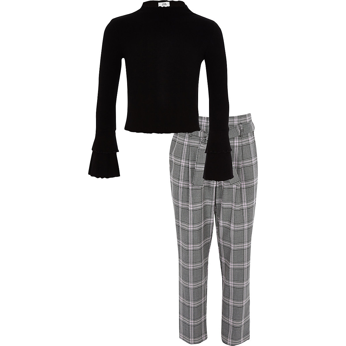 Girls black rib top and check trousers outfit