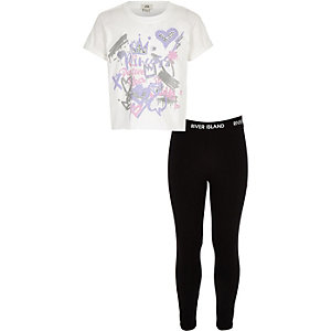 Girls white graffiti T-shirt and leggings set