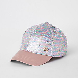 Girls pink sequin cap