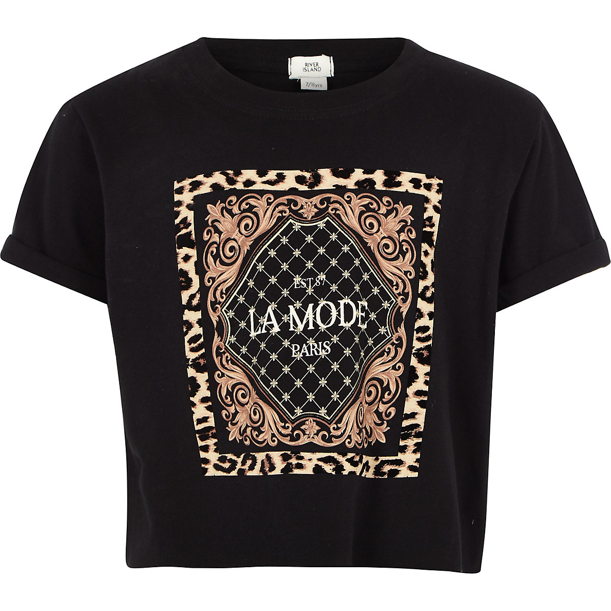 Girls black 'La mode' leopard print T-shirt