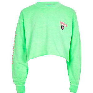 Girls bright green 'Forever' sweatshirt