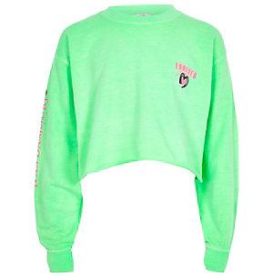 Felgroen sweatshirt met 'Forever'-print voor meisjes