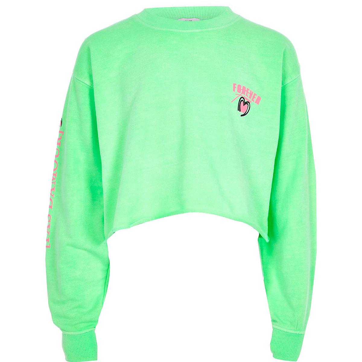 Girls bright green 'Forever' sweatshirt