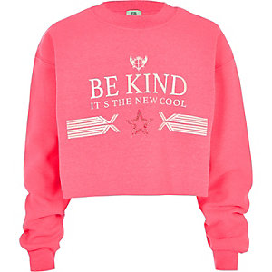 Girls neon pink 'be kind' sweatshirt