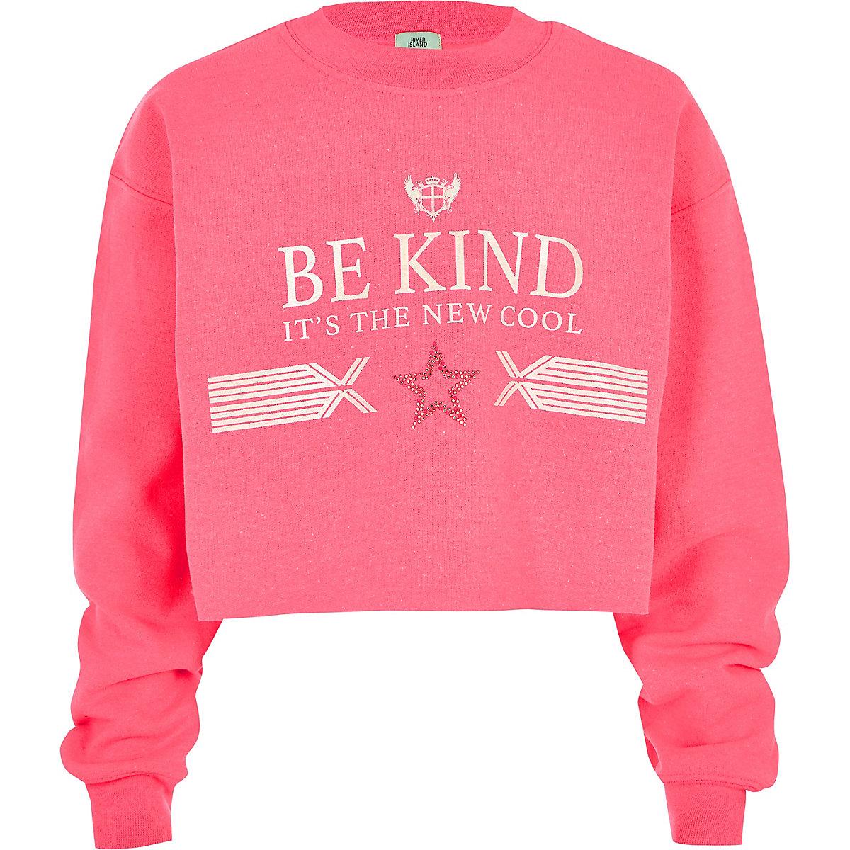 Girls neon pink 'be kind' sweatshirt