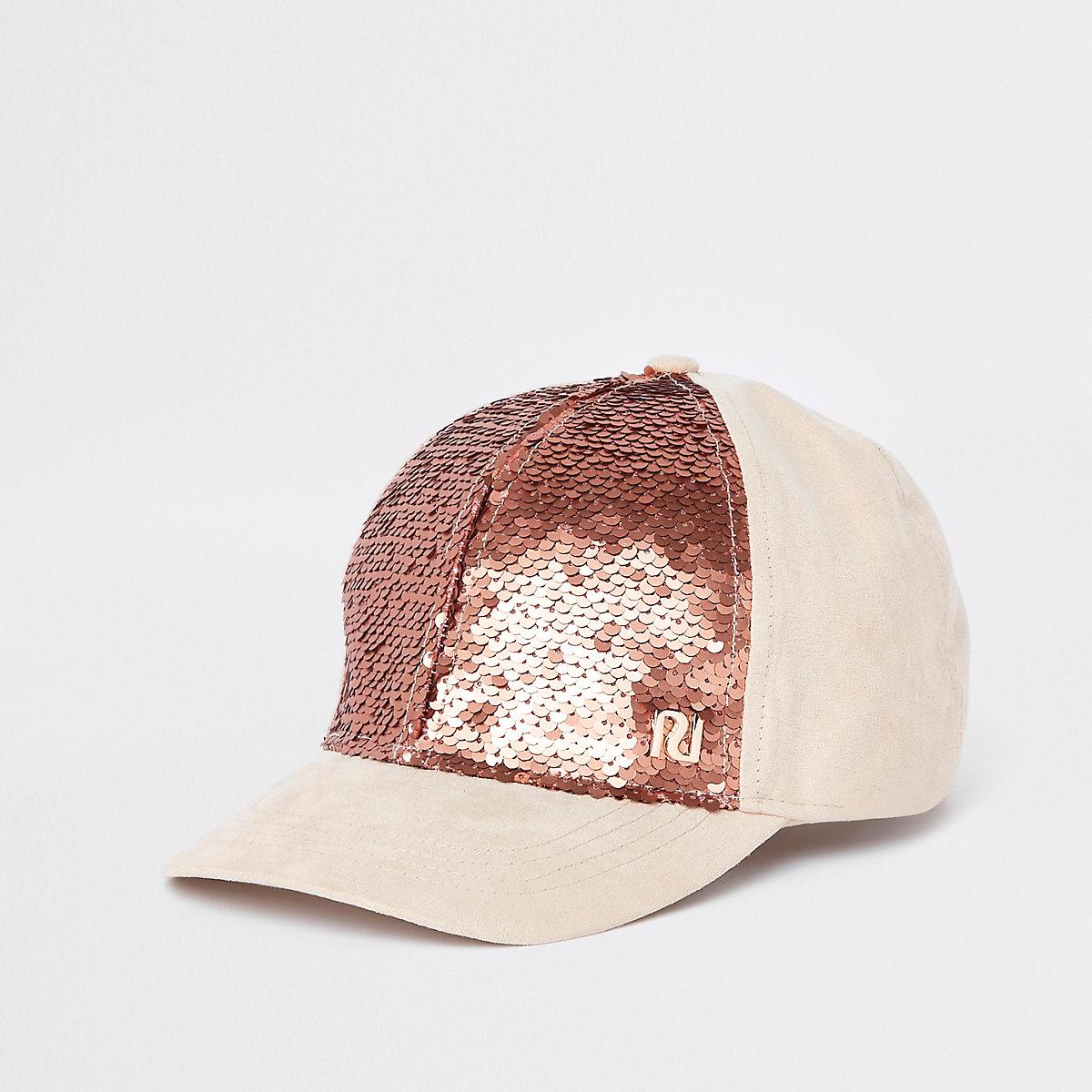 Girls pink sequin embellished cap