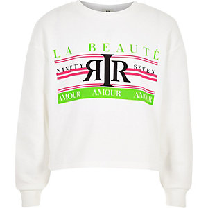 Girls white neon 'La beaute' sweatshirt