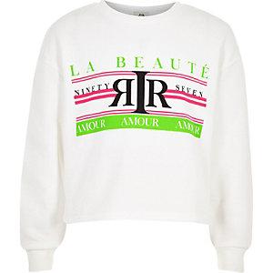 Wit met neon sweatshirt met 'La beaute'-print voor meisjes