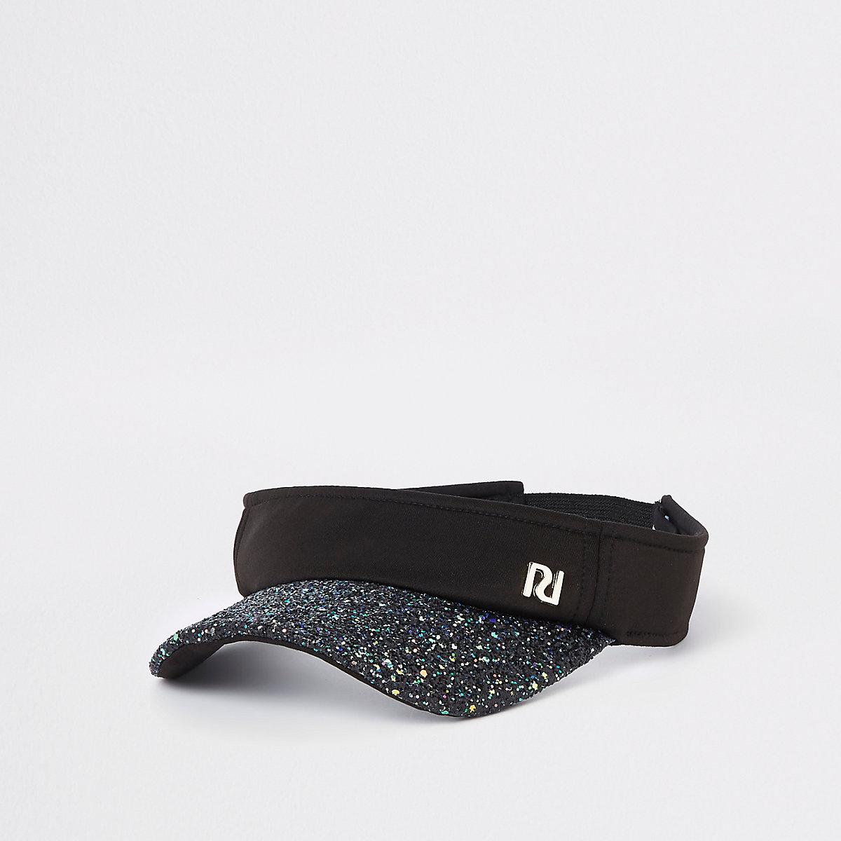 Girls black glitter visor cap