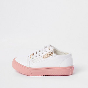 Mini girls white zip up plimsolls