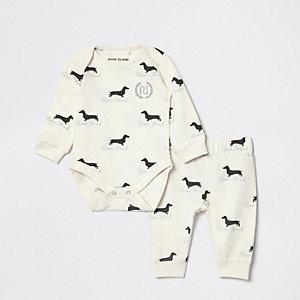 Crème babygrow-outfit met hondenprint voor baby's