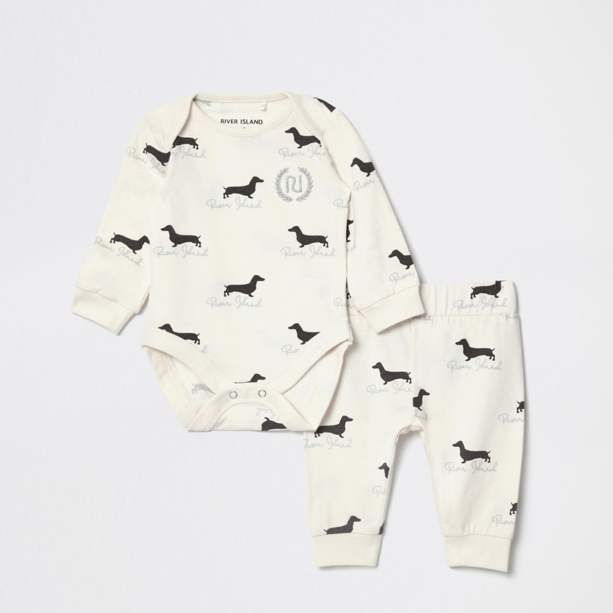 Baby cream dogprint babygrow outfit