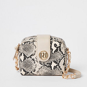 Girls beige snake print cross body bag