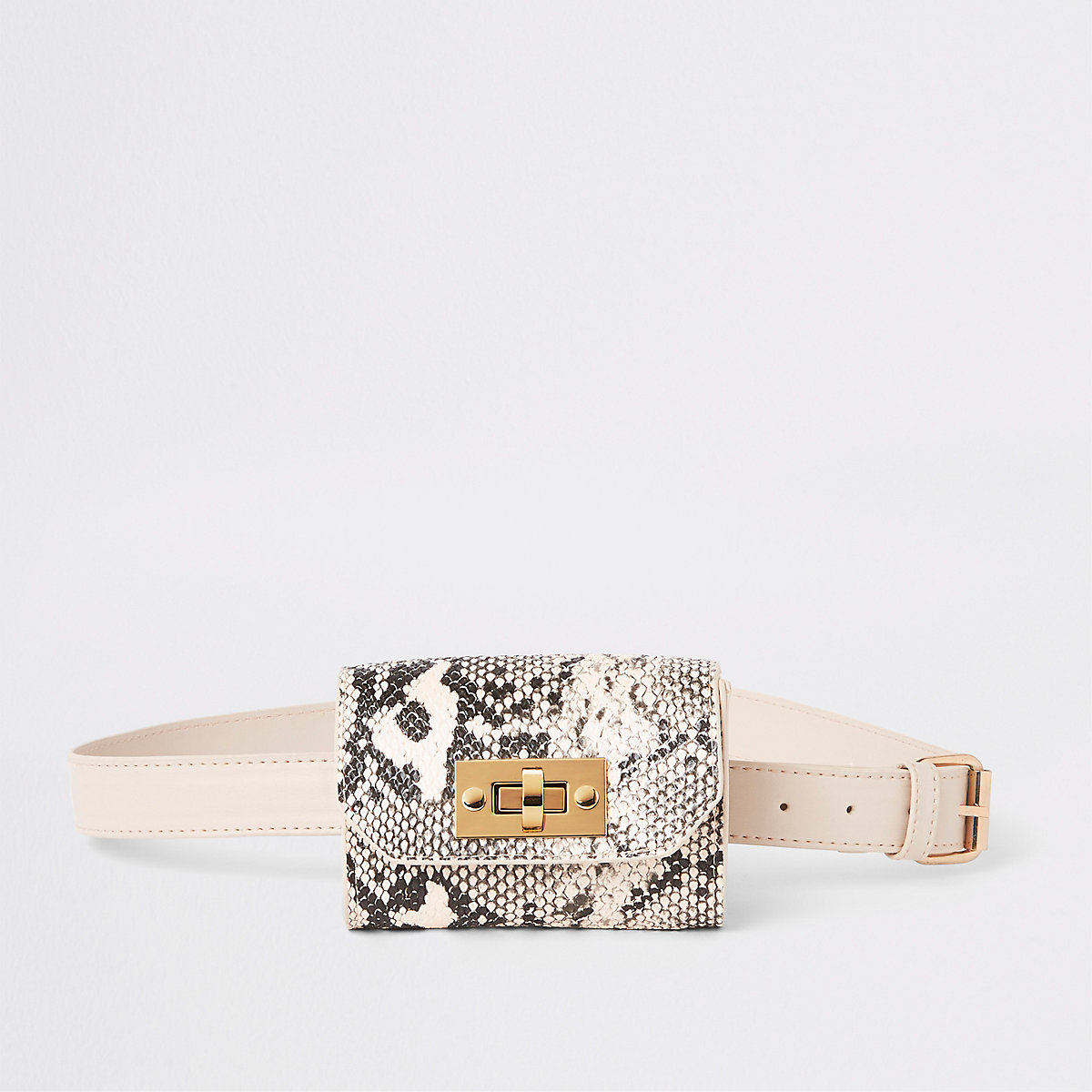 Girls beige snake print bum bag