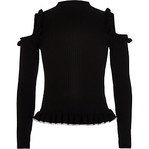 Girls black cold shoulder frill sweater