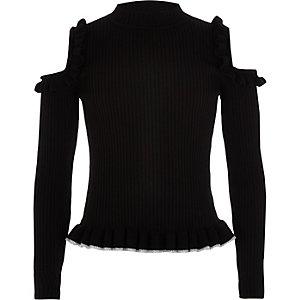Zwarte schouderloze pullover met ruches voor meisjes