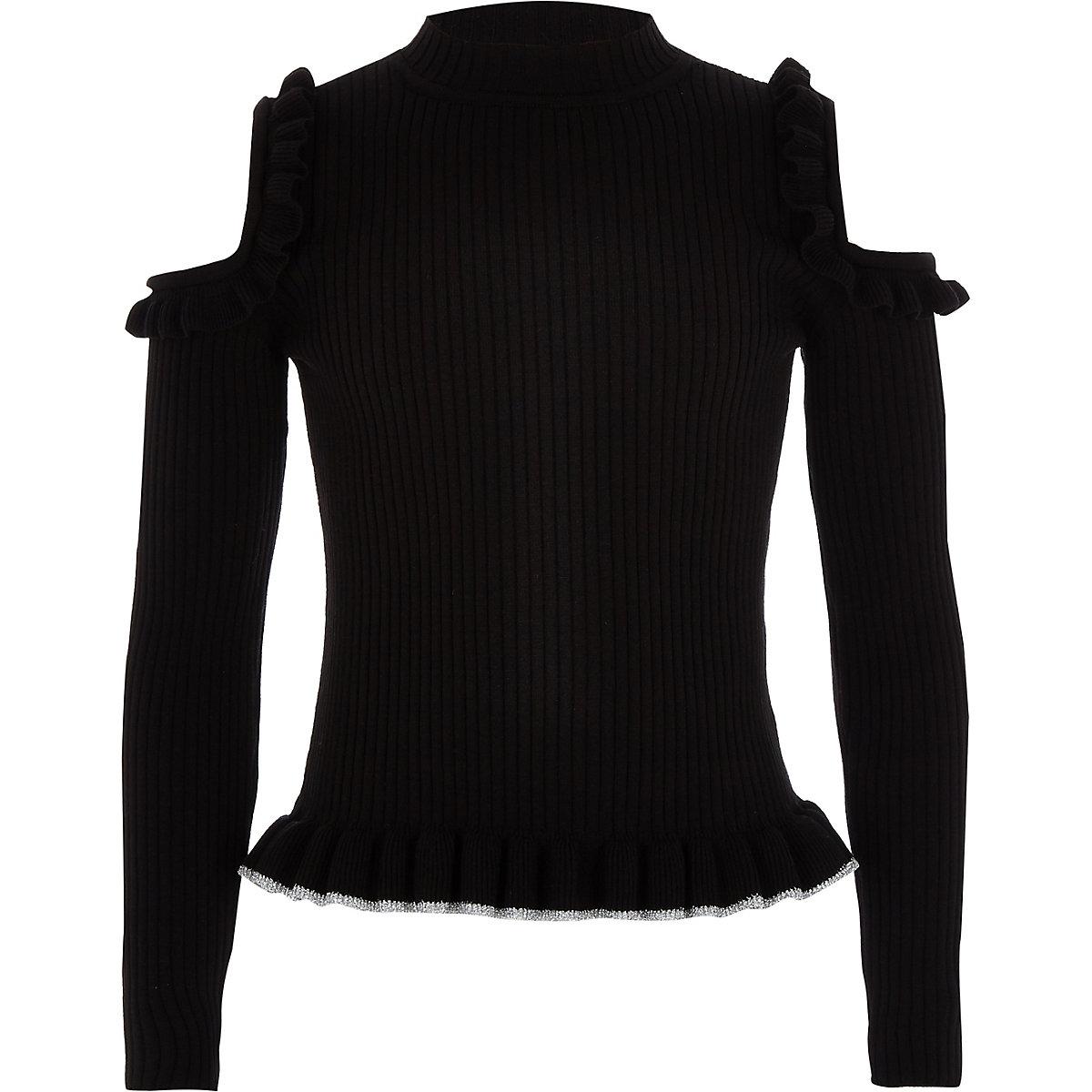 Girls black cold shoulder frill sweater