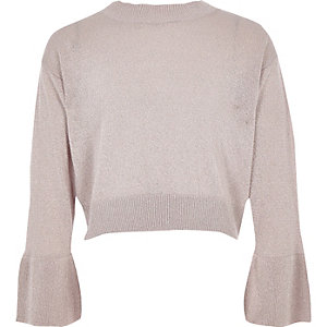 Girls pink metallic knit bell sleeve jumper