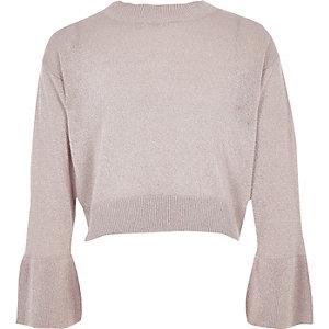 Roze gebreide metallic pullover met klokmouwen