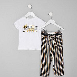 Mini girls 'bonjour' stripe jogger outfit