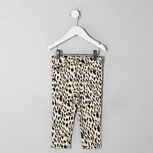 Molly – Schwarze Jeggings mit Leoparden-Print