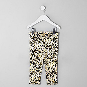 Mini - Molly - Zwarte jegging met luipaardprint voor meisjes