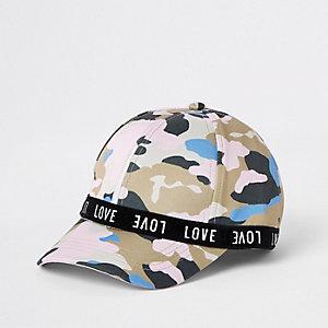 Casquette «love» camouflage rose mini fille